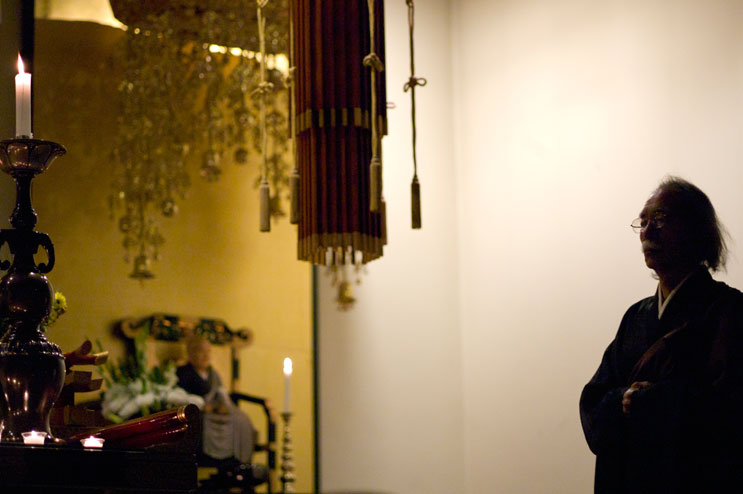 Rev. Wako Kato participates in a memorial service for the victims of the March 2011 earthquake and tsunami in Japan at Zenshuji Soto Mission in Little Tokyo in Los Angeles, Calif., Sunday, March 20, 2011.