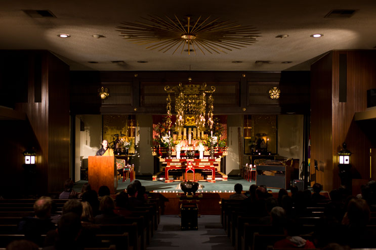 Rev. Shumyo Kojima talks in Japanese to the congregation during a memorial service for the victims of the March 2011 earthquake and tsunami in Japan at Zenshuji Soto Mission in Little Tokyo in Los Angeles, Calif., Sunday, March 20, 2011.