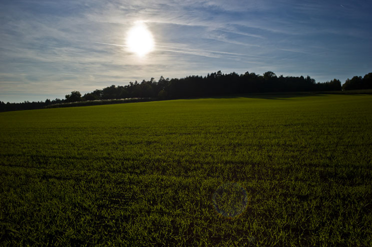 The sun sets over the fields in the Kellnau in Abensberg, Germany, Sunday, October 16, 2011.