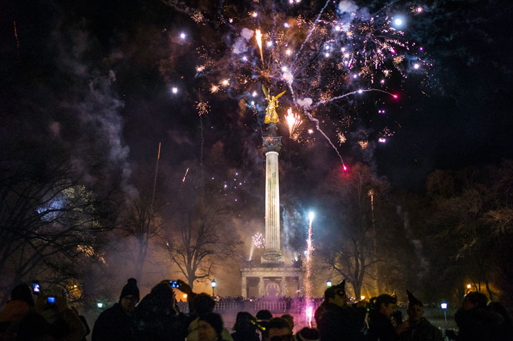 New Year's Eve celebrations at the Friedensengel (Angel of Peace) in Munich, Bavaria, Monday, December 31, 2012.