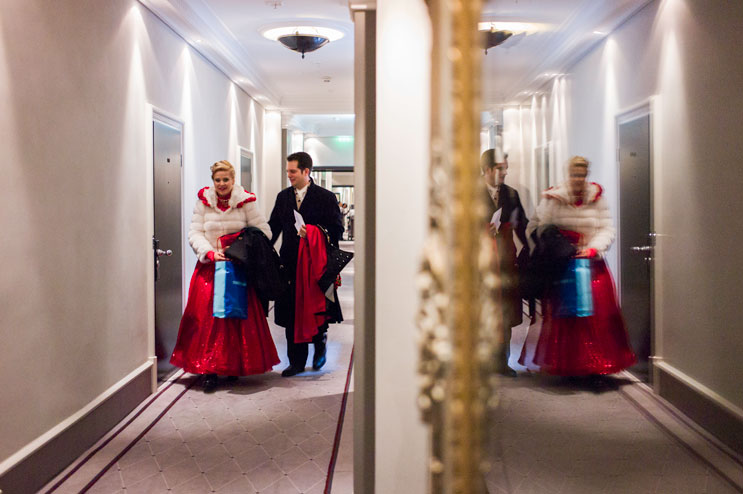 Prince Manuel I. (Manuel di Nardo) and Princess Astrid I. (Astrid Dengler) walk from their suite at hotel Bayerischer Hof to be taken to Marienplatz for the enthronement  ceremony. Saturday, January 12, 2013.