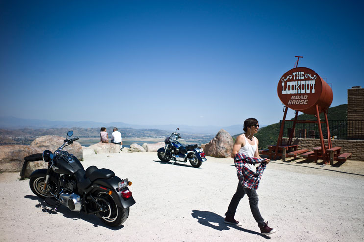 Maximilian Berr, of Dachau, Germany, takes a break at the Lookout Road House on the Ortega Highway near Lake Elsinore, Calif., May 5, 2011.