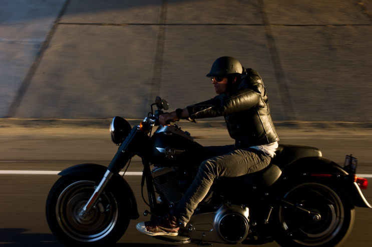 Maximilian Berr, of Dachau, Germany, rides his Harley Davidson on the I-10 near Palm Desert, Calif., May 5, 2011.