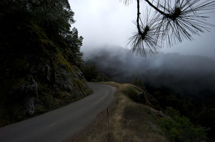 Nacimiento-Fergusson Road winds up into the clouds engulfing the Santa Lucia Mountains at Los Padres National Forest, Calif., May 18, 2011.