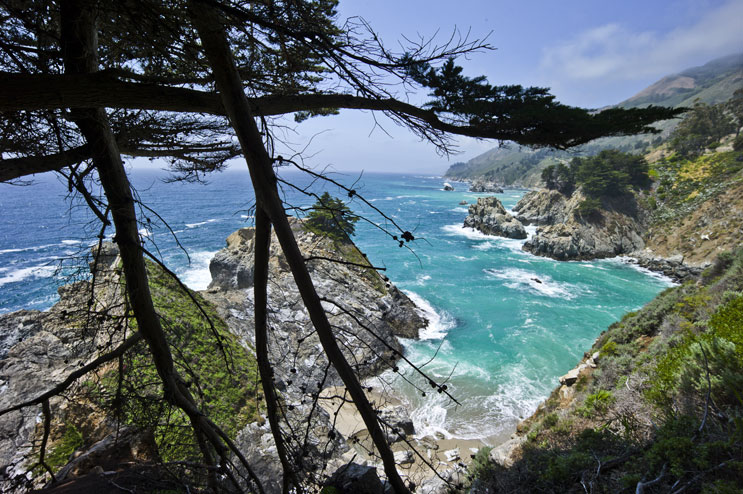 Mountains and ocean meet to create the unique scenery of McWay Cove at Julia Pfeiffer Burns State Park in Big Sur, Calif., May 19, 2011.