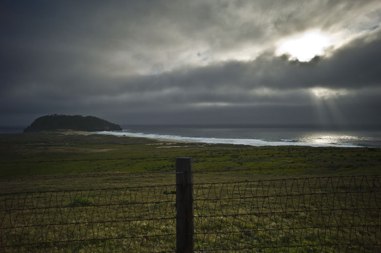 The sun breaks through the clouds at Point Sur, Calif., May 19, 2011.