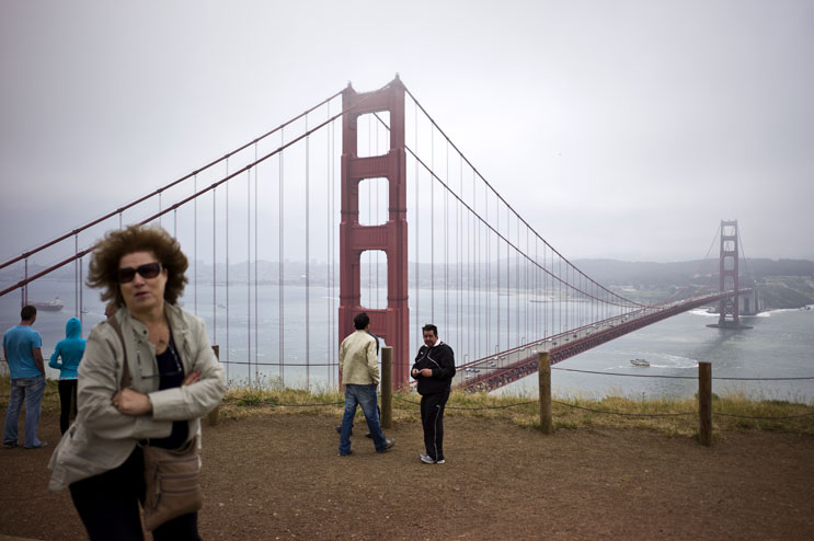 Visitors enjoy the view of the Golden Gate Bridge in San Francisco, Calif., from Hendrik Point on the north end of the bridge, Friday, May 20, 2011.