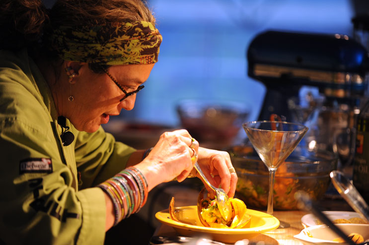 Susan Feniger, co-owner of the Border Grill restaurants, prepares Peruvian Ceviche with Pickled Red Onions during her Global Street Food cooking demo at the Food and Wine Classic in Aspen, Colo., Friday, June 17, 2011.