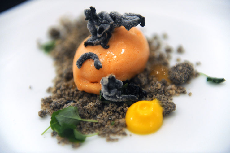 """During a press lunch titled """"Celebrating Singaporean Street Food"""" at the Baldwin Gallery on Saturday, the Singaporean Tourism Board served Carrot Sesame Pineapple ice cream among many other exotic dishes. Very delicious..."""