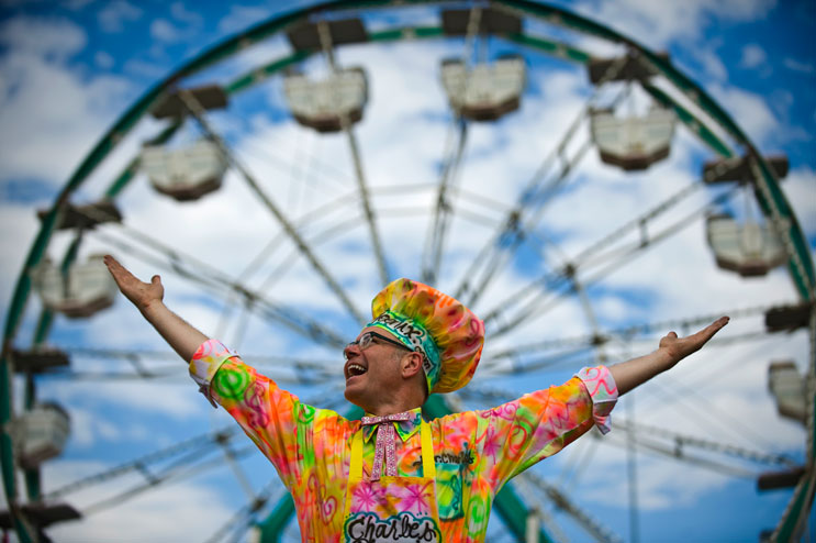 """Charles Phoenix calls himself America's Retro Geek. Dressed up in a suit airbrushed by a street artist, he sautés a mix of people's favorite breakfast cereals in butter in his test kitchen at the Denver County Fair. """"I'm putting the kitsch back in kitchen,"""" Phoenix said. Wednesday, July 27, 2011."""