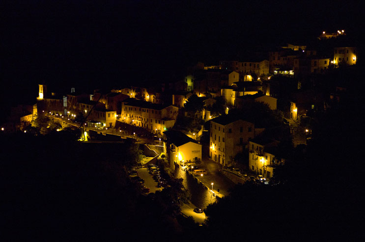 The little mountain village of Marciana, Island of Elba, at night, Thursday, September 22, 2011.