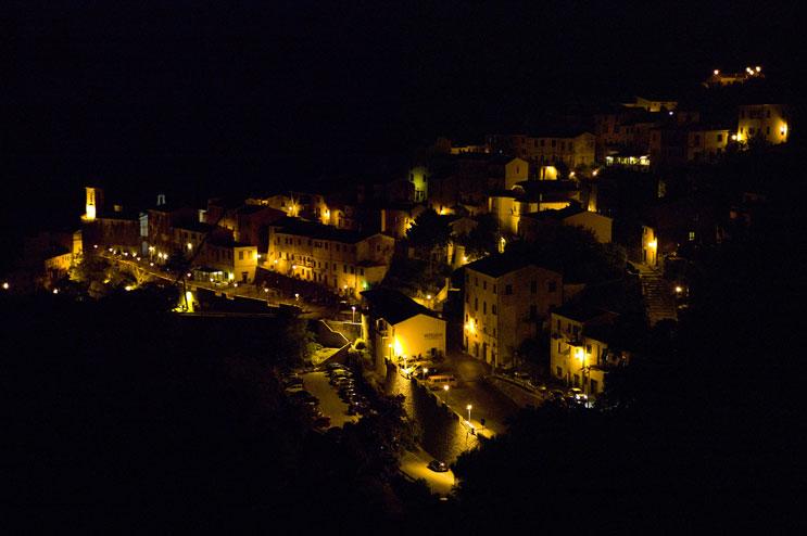 The little mountain village of Marciana, Island of Elba, at night, Thursday, September 22, 2011.