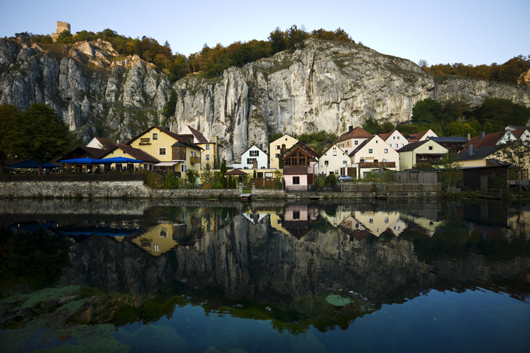The medieval village of Essing is squeezed in between limestone cliffs and a former branch of the river Altmühl. Located above the village is the Castle of Randeck, which dates back to the 10th century. Monday, October 3, 2011.