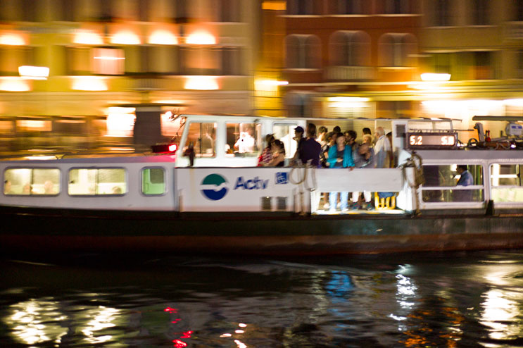 "A ""Vaporetto"" water bus steams past Ferrovia station at the Grand Canal Venice, Italy, Tuesday, June 26, 2012. ACTV, the operator of the water busses, owns currently around 120 water borne vessels and transports upward of 180 million people annualy."