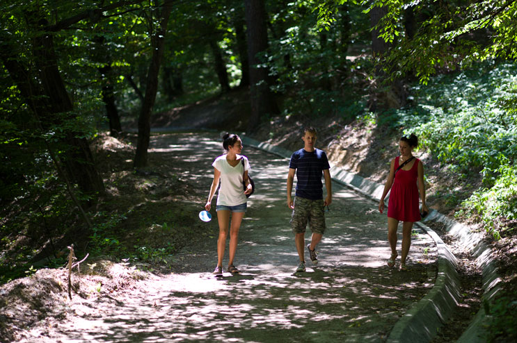 Taking a walk through the woods in Medias with Cata and Viv. Monday, July 9, 2012.