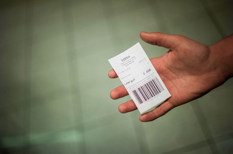 A € 2.00 voucher is the return of several hours worth of picking bottles at the airport. Saturday, November 24, 2012.