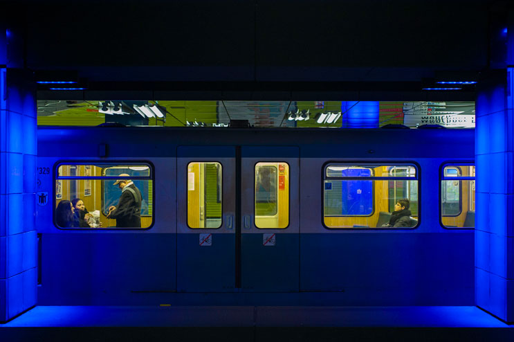 "An underground train stops at the station ""Münchner Freiheit"" in Munich, Friday, January 4, 2012."