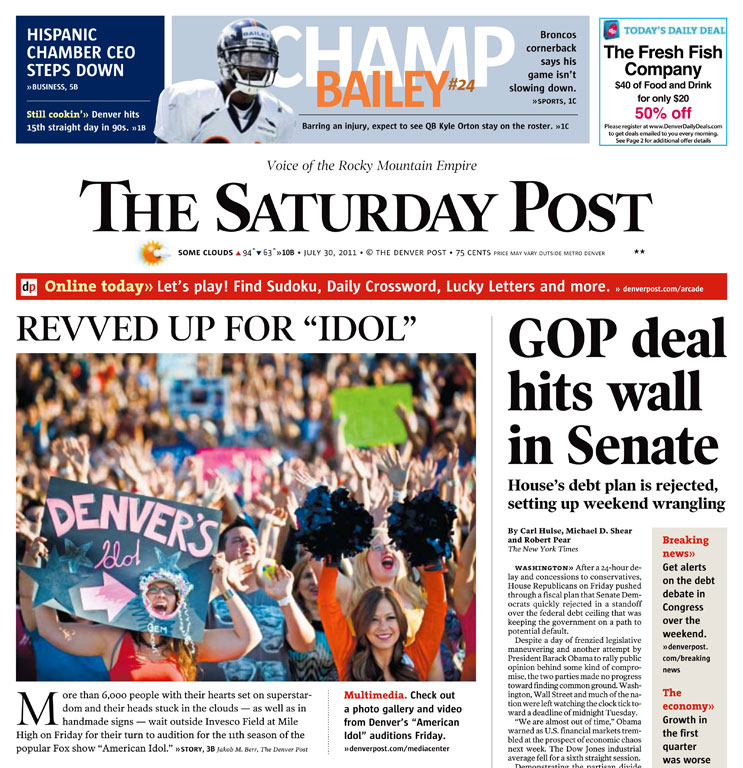 The front page of the Denver Post from Saturday, July 30, 2011.